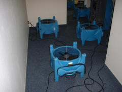 Airmovers drying carpeting, pad and subfloor